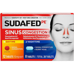 Sudafed PE Sinus Congestion Day + Night Maximum Strength, 20 Tablets Total