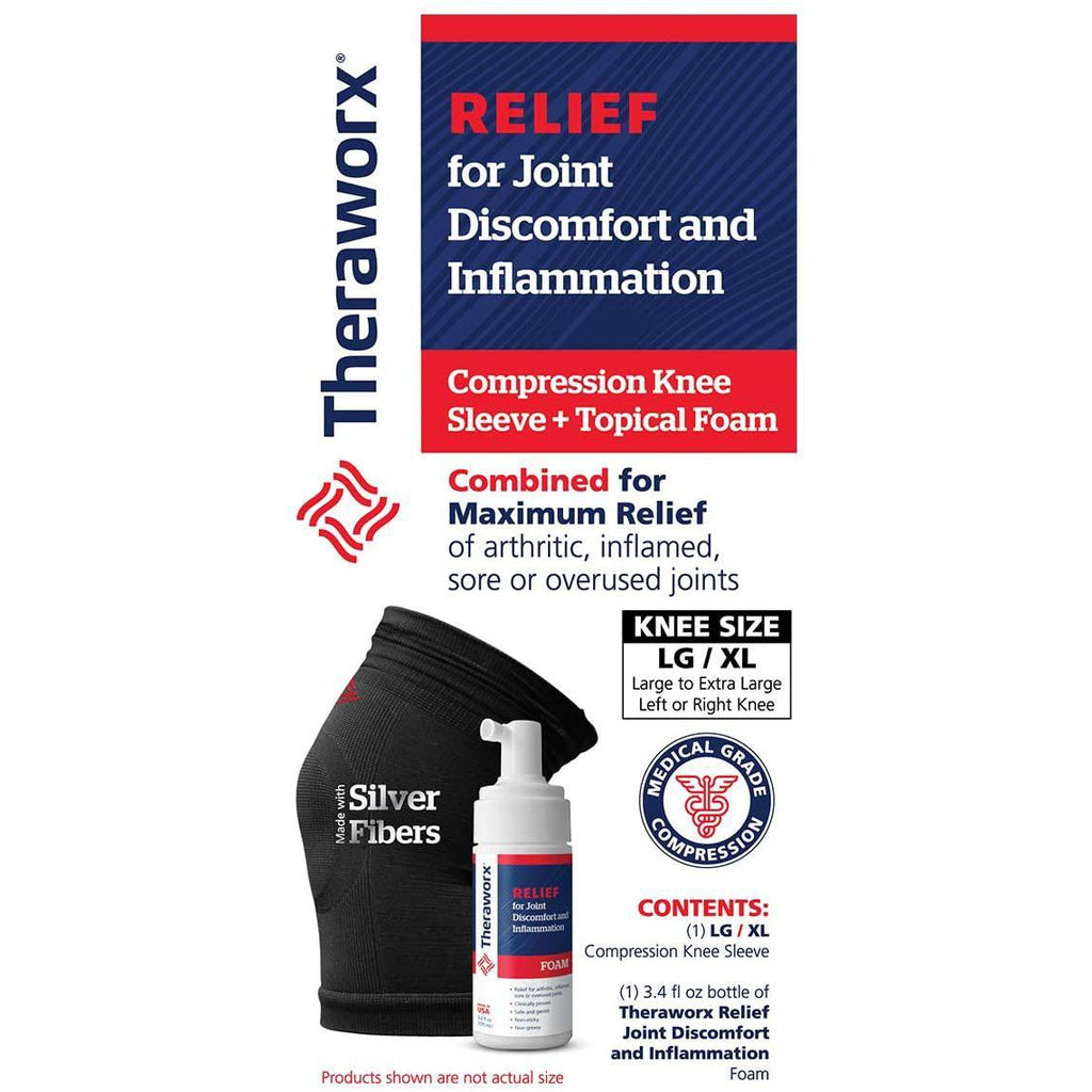 Theraworx Relief Joint Discomfort & Inflammation Foam, 3.4oz + Compression Knee Sleeve (Large/XL)