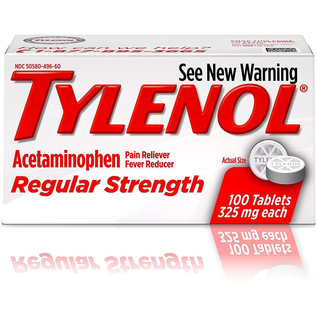 Tylenol Regular Strength Acetaminophen, Pain Reliever and Fever Reducer, 100 count