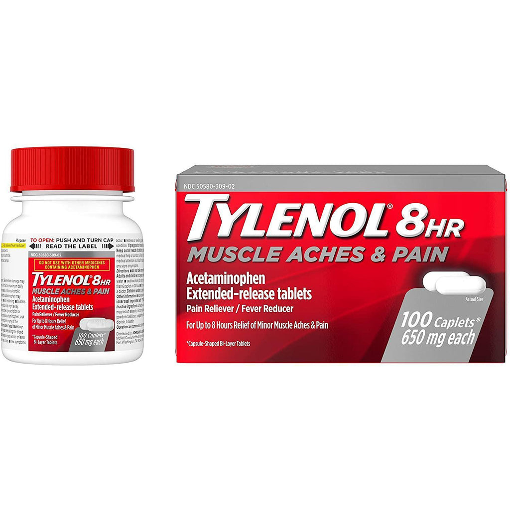 Tylenol 8 Hour Muscle Aches & Pain Acetaminophen 650mg ER Tablets, 100 count