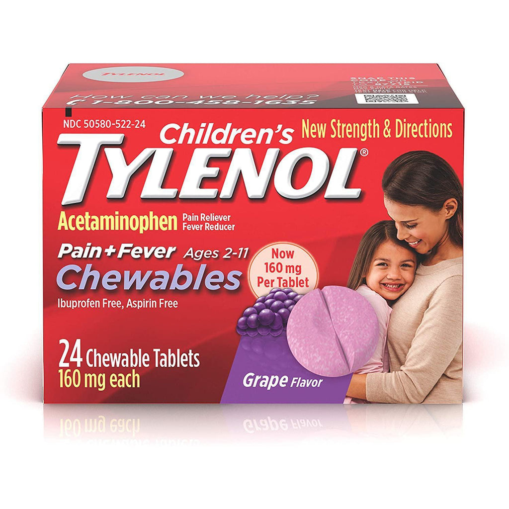 Children's Tylenol Chewables, Acetaminophen for Pain & Fever Relief, Grape, 24 ct