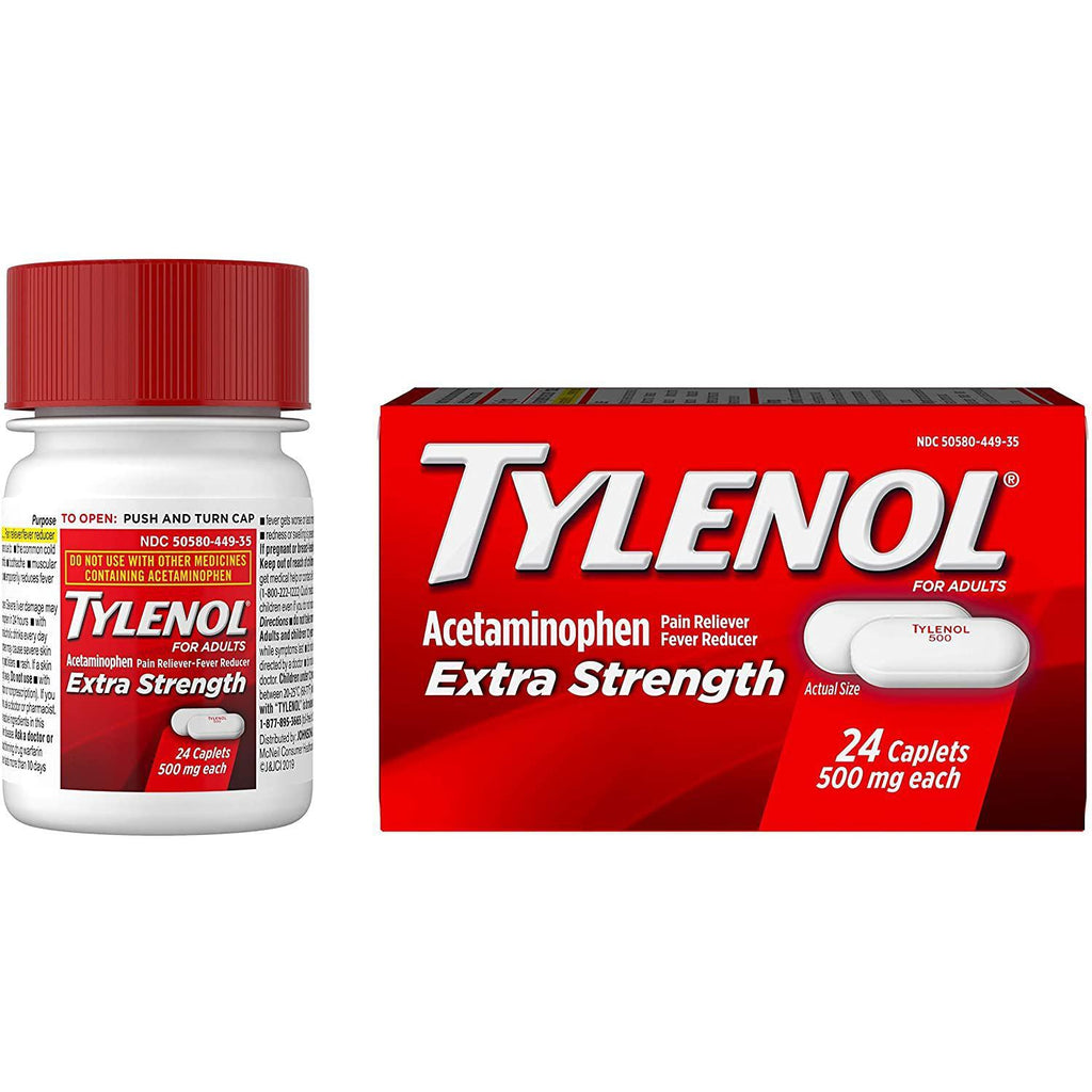 Tylenol Extra Strength Caplets with 500 mg Acetaminophen, Pain Reliever & Fever Reducer, 24 ct
