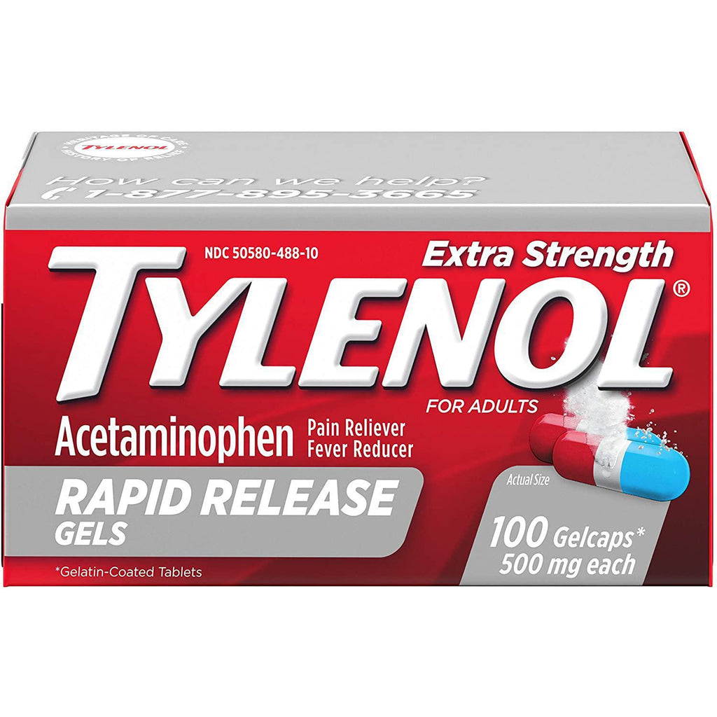 Tylenol Extra Strength Rapid Release Gels with Acetaminophen, Pain Reliever & Fever Reducer, 100 count