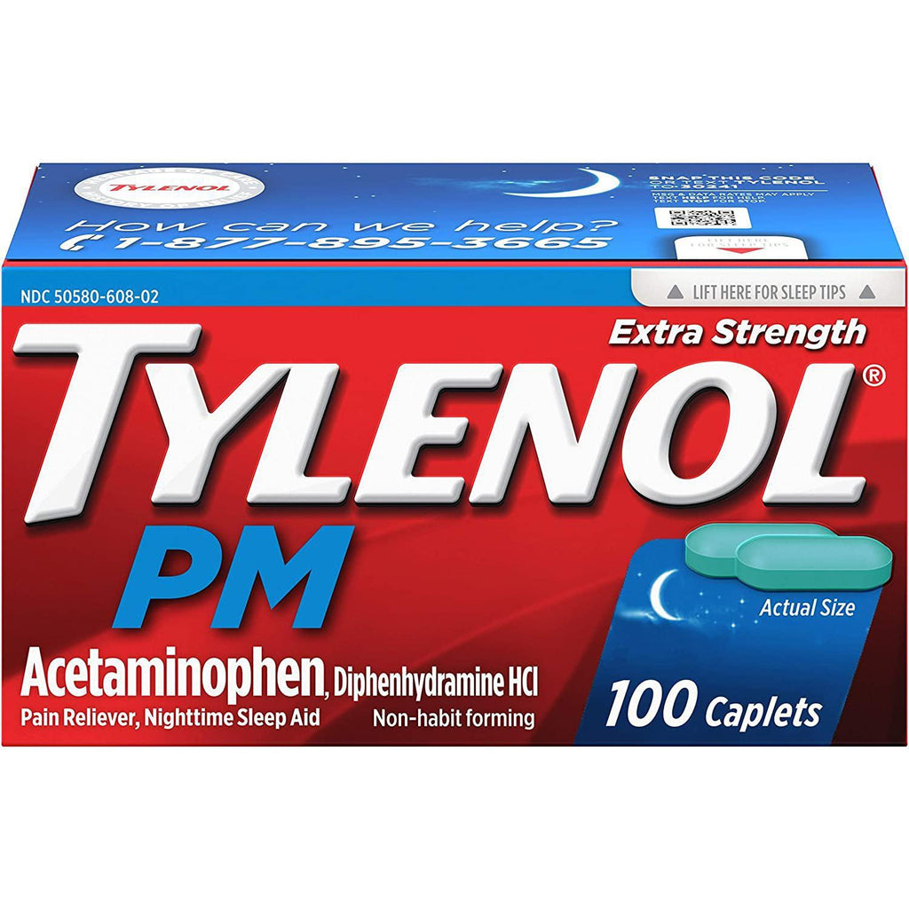 Tylenol PM Extra Strength Pain Reliever & Sleep Aid Caplets, 500mg Acetaminophen, 100 Count