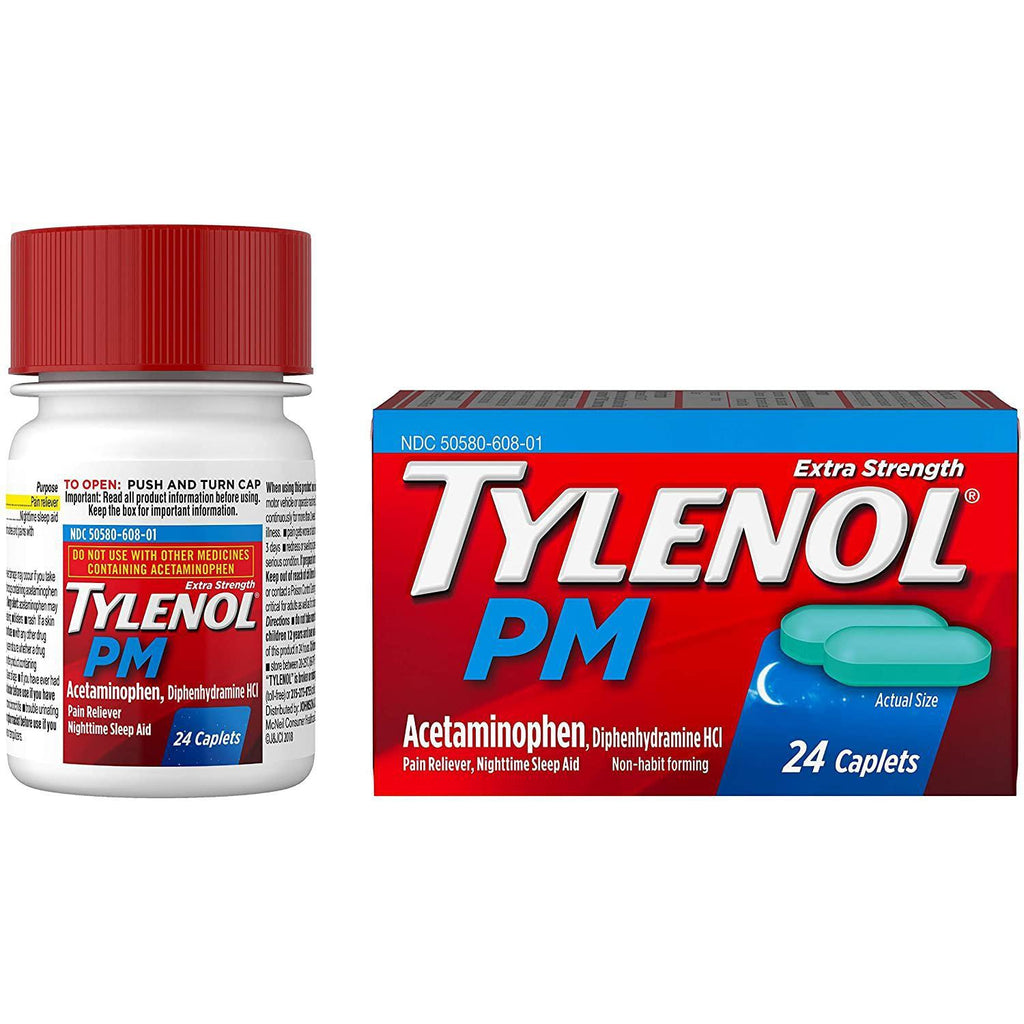Tylenol PM Extra Strength Pain Reliever & Sleep Aid Caplets, 500mg Acetaminophen, 24 Count