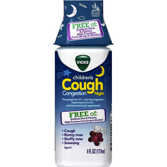 Vicks Children's Cough and Congestion Night Relief, 6 fl oz, Grape Flavor
