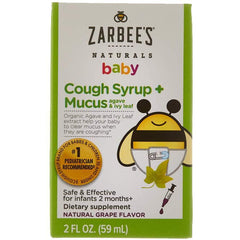 Zarbee's Naturals Baby Cough Syrup + Mucus, Natural Grape Flavor, 2 Ounces