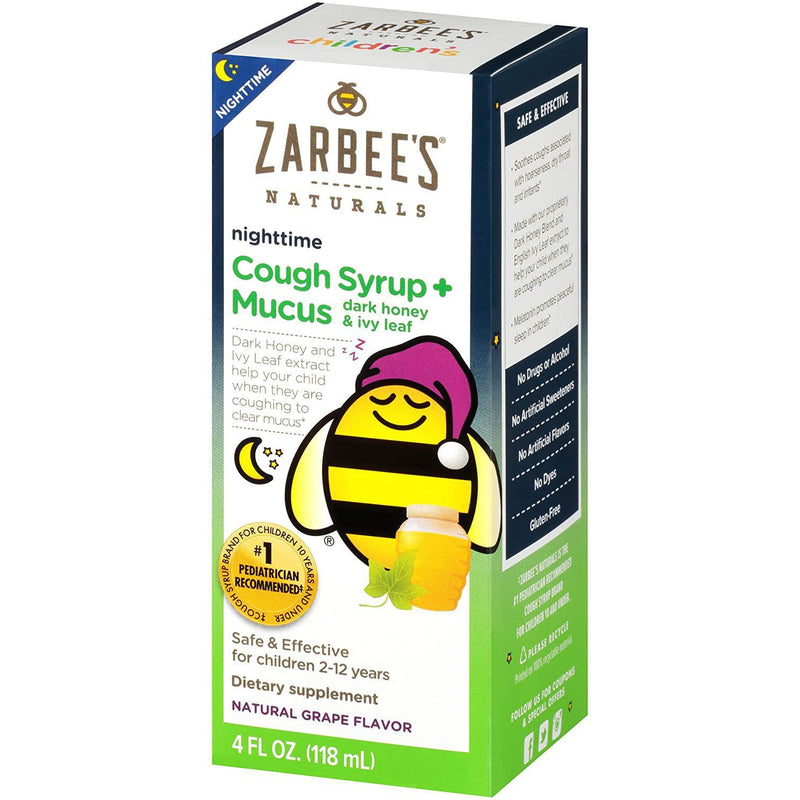 Zarbee's Naturals Children's Cough Syrup + Mucus Nighttime, Grape Flavor, 4 fl oz