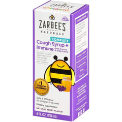 Zarbee's Naturals Children's Complete Daytime Cough Syrup + Immune, Berry Flavor, 4 fl oz.