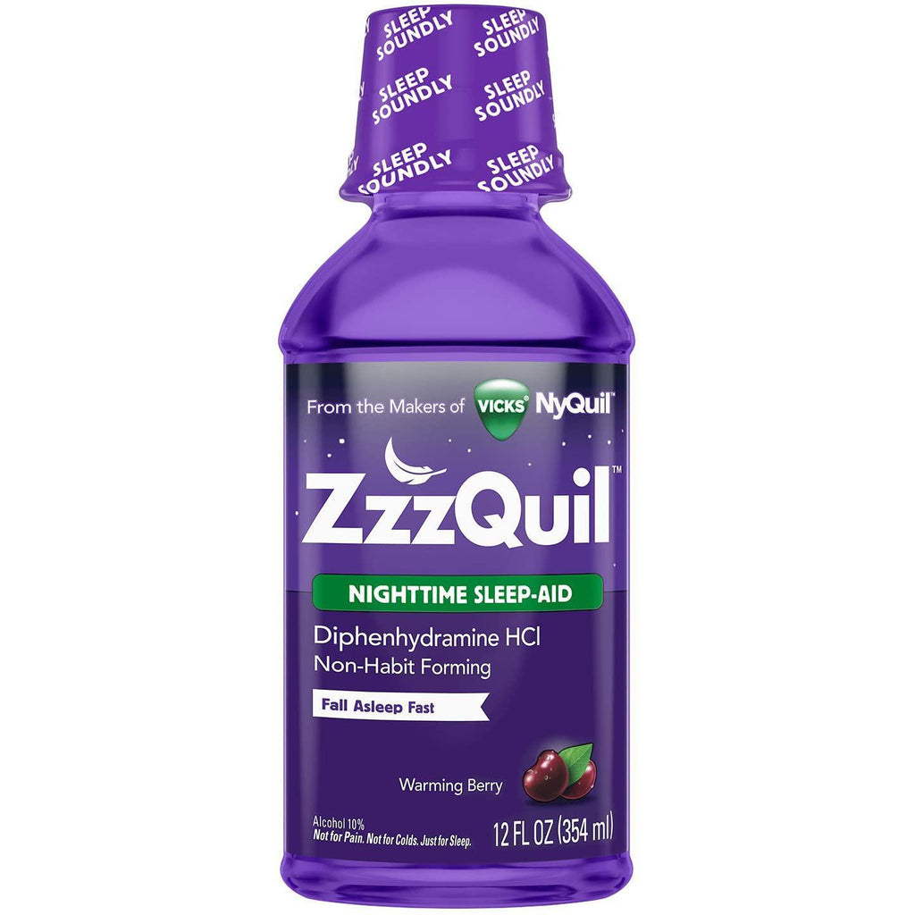 ZzzQuil Nighttime Sleep Aid Liquid, Warming Berry Flavor, 12 fl oz