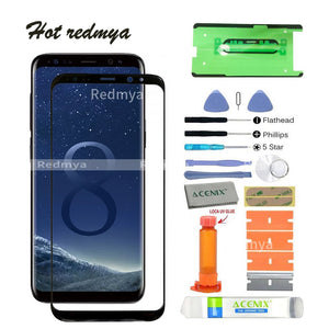 "ecran s8 touch screen front glass For Samsung Galaxy S8 G950 5.8""S8 Plus G955 6.2"" LCD screen front Outer Glass Lens+tools"