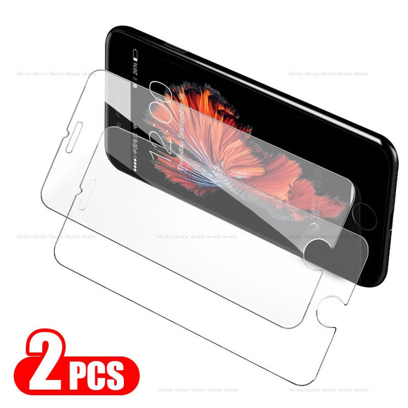 2Pcs Tempered Glass Screen Protector For iPhone XS Max X 7 8 6s 6 S Plus XR SE 5 S 5s 5C 4 4S en Verre trempe ecran protecteur