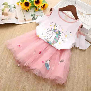 2 Piece Unicorn Tulle Baby Girl Clothing - mybabyflame