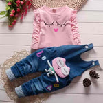 2 Piece Cartoon Top & Denim Pants Baby Girl Outfit - mybabyflame