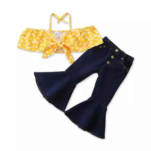 2 Piece Dotted Top + Ruffle Jeans Baby Girl Outfit - mybabyflame
