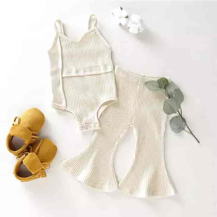 2 Piece Stylish Vest + Ruffle Pants Baby Girl Clothing - mybabyflame