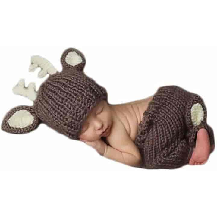 2pcs/Set Cartoon Knitted Deer Newborn Photography Outfits - mybabyflame