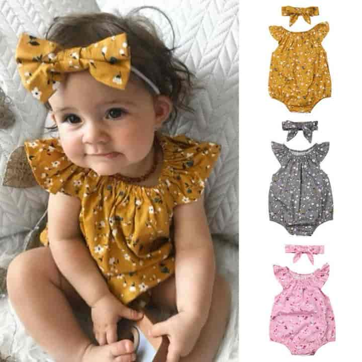 2 Pcs Set Newborn Baby Bodysuits For Girls - mybabyflame