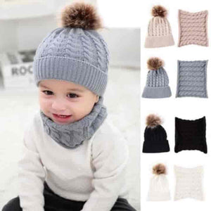 2Pcs Unisex Baby Beanie Hat and Neckerchief Set - mybabyflame