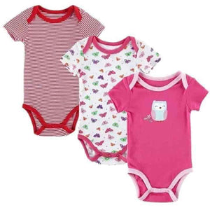 3 pcs/set Unisex Newborn/Toddler Baby Romper Short Sleeved Cotton Bodysuit - mybabyflame