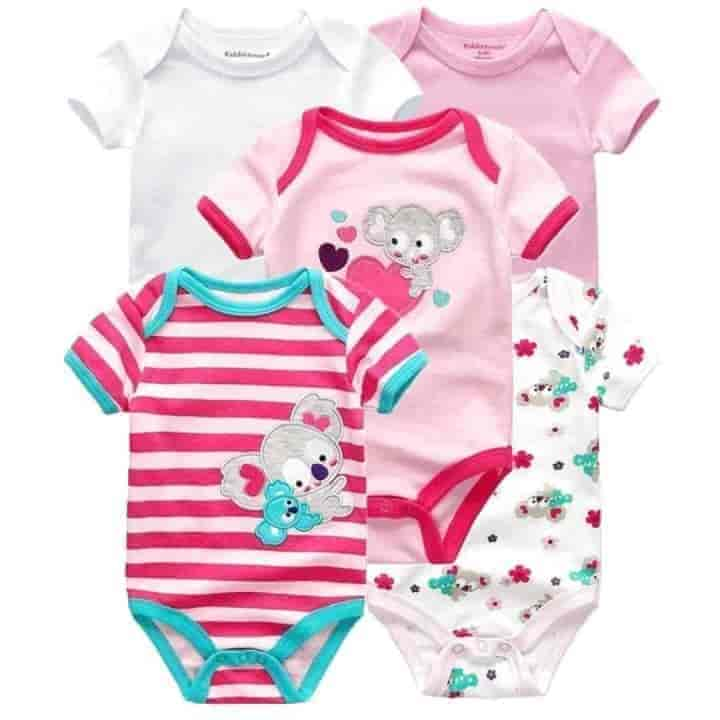 5PC 100% Cotton Unisex Baby Rompers - mybabyflame
