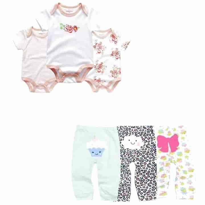 6 Piece Newborn Short Sleeve Baby Romper and Pants Set - mybabyflame