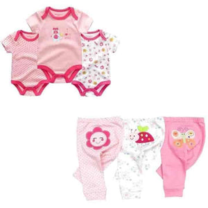 6 Pc Newborn Short Sleeve Baby Rompers and Pants Set- mybabyflame