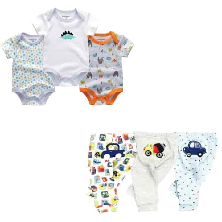 6 Pc Newborn Short Sleeve Baby Rompers and Pants Set - mybabyflame