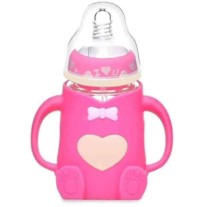 Anti-fall Glass Silicone Baby Bottle Feeding Cups - mybabyflame