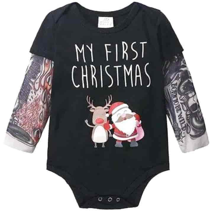 Baby Boys Romper Long Sleeve Tattoo Print - mybabyflame
