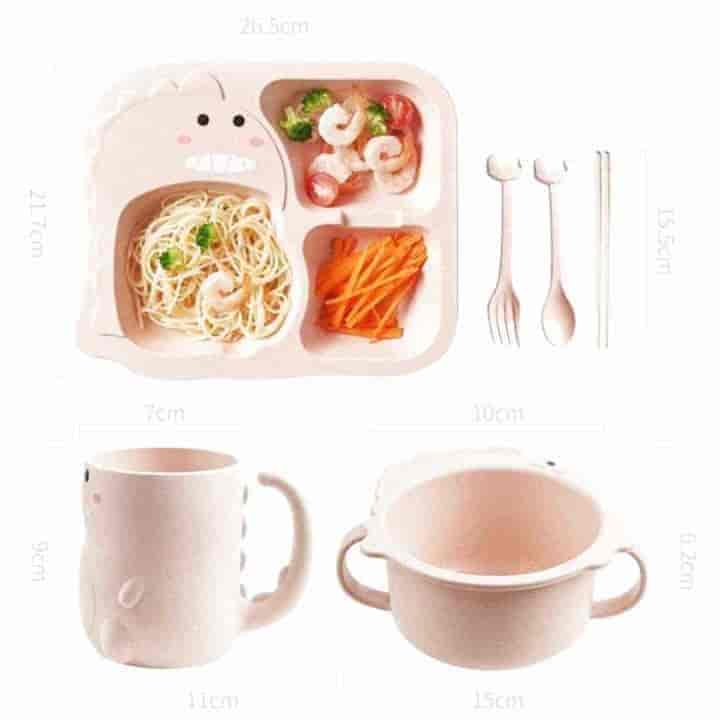 Baby Feeding Cute Cartoon Dinosaur Children Tableware Set - mybabyflame