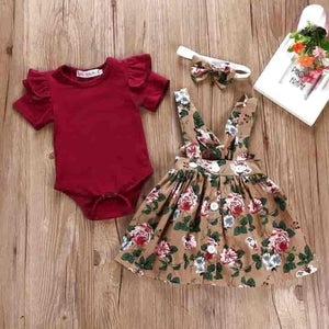 Baby Girl Romper, Strap Dress, and Headband - mybabyflame