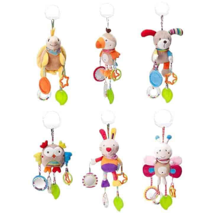 Baby Cartoon Shape Safe Plush Toys 6Pcs Rattle - mybabyflame