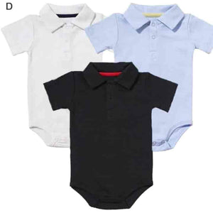 Classic Babies 3-Pack Cotton Short Sleeve Unisex Turn-down Collar Bodysuits - mybabyflame