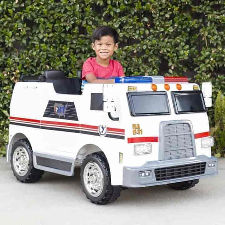24V Electric Ambulance Ride on Car For Kids - mybabyflame