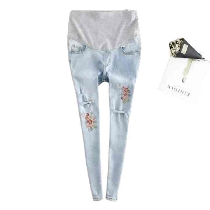 Embroidery Flower Ripped Skinny Maternity Jeans - mybabyflame