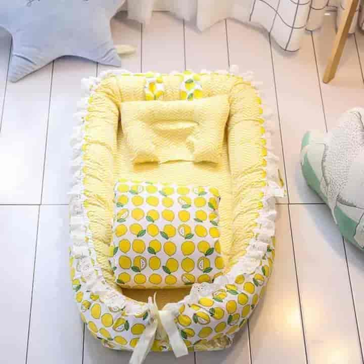 Lace-Style Bowknot Baby Nest Crib and Quilt - mybabyflame
