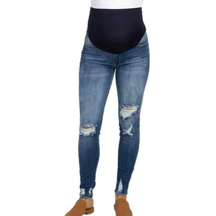 Ripped Maternity Jeans - mybabyflame