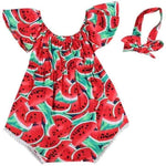 Newborn Baby Girls Watermelon Print Bodysuit Headband Set - mybabyflame