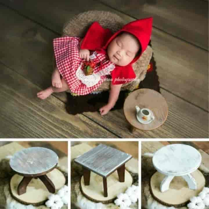 Newborn Photography Props Infant Shoot Mini Wooden Table - mybabyflame