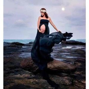 Off shoulder Chiffon Dress For Maternity Photo Shoot - mybabyflame