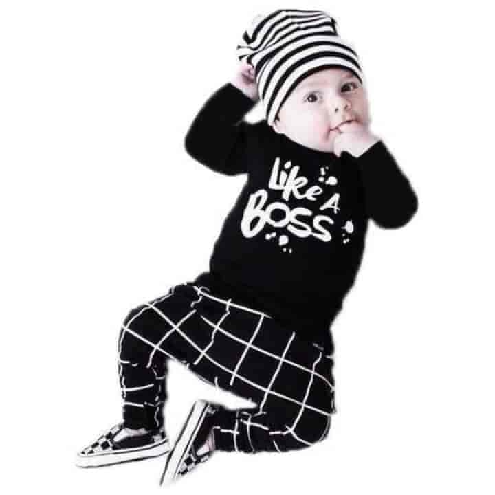 Unisex Newborn Long Sleeve Like A Boss 2 Piece - mybabyflame