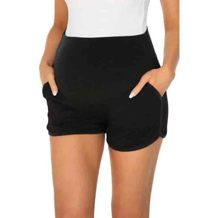 Women Striped Stretchy High Waist  Maternity Shorts - mybabyflame