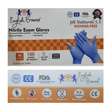 English Browne Disposable Nitrile Exam Gloves (Blue) - Box of 100