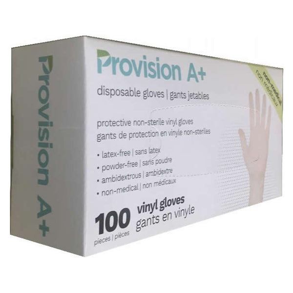 Provision A+ Disposable Vinyl Gloves 5mil (Clear) - Box of 100
