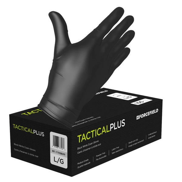 Forcefield Tactical Plus Nitrile Disposable Examination Gloves 5mil (Black) - Box of 100