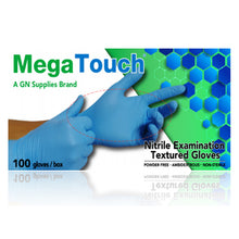 Mega Touch Gloves Nitrile Examination Textured Gloves (Blue) - Box of 100