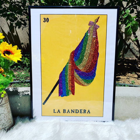 LGBTQ PRIDE FLAG GLITTER WALL ART