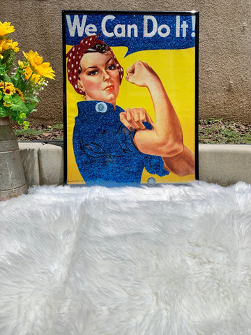 ROSIE THE RIVETER GLITTER WALL ART