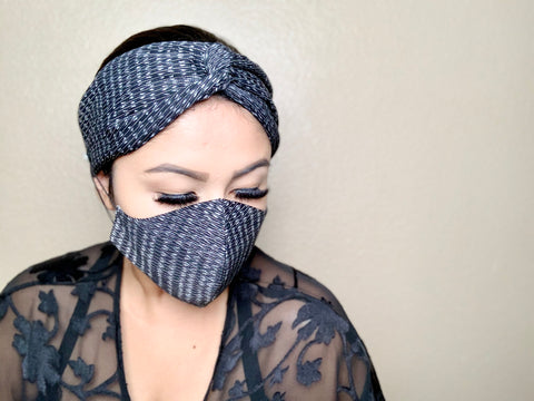WOMEN'S MASK & TURBAN HEADBAND SET